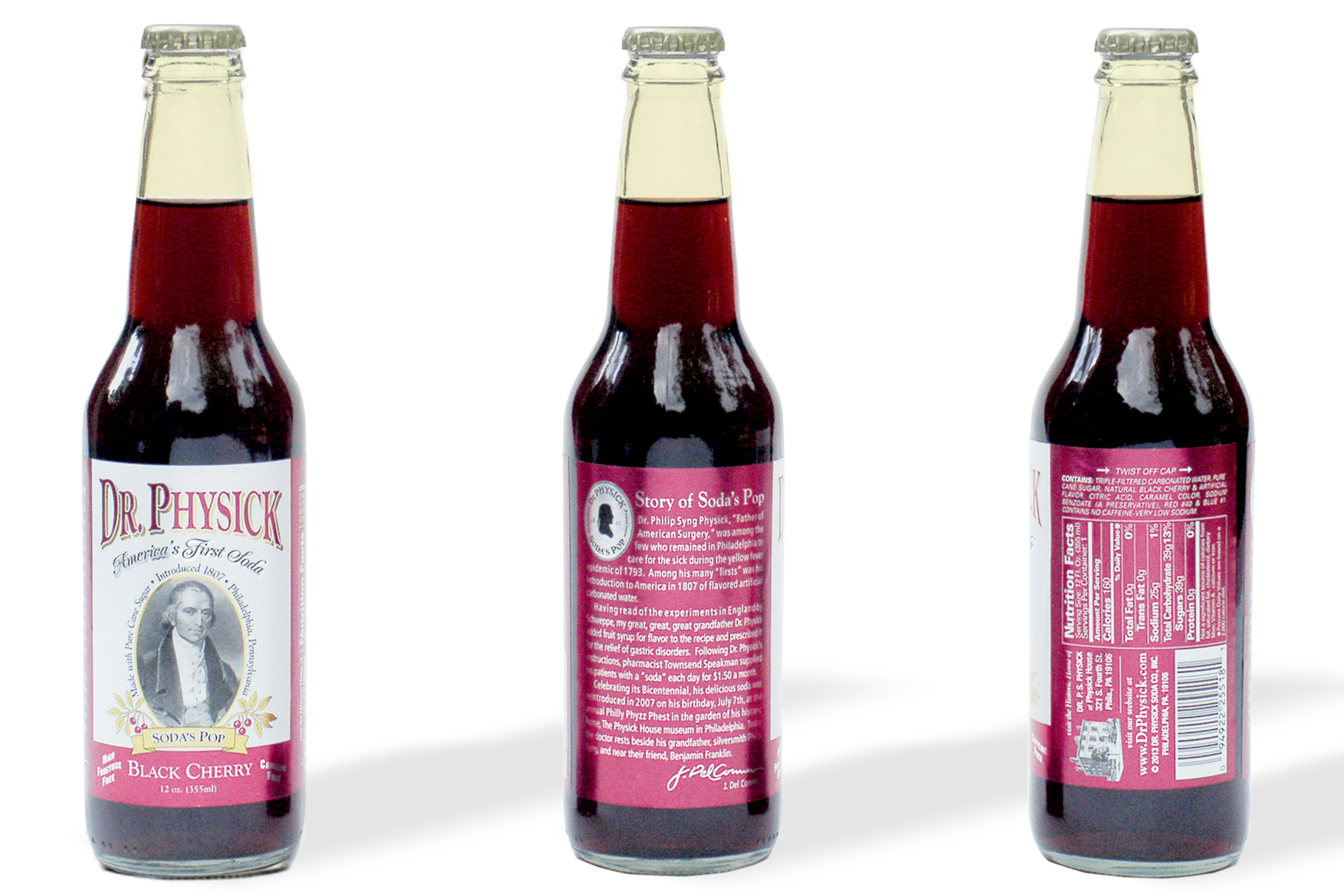 Three views of Dr. Physick soda